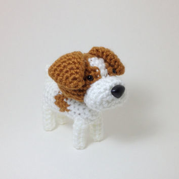Jack Russell Terrier Amigurumi Dog Hand made Crochet Puppy Stuffed Animal Plush Doll / Made to Order