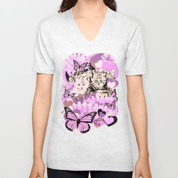 Frieda's Baby Cats in Pink Unisex V-Neck by GittaG74