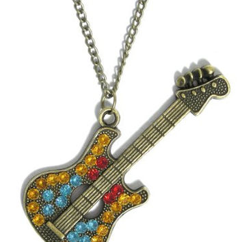 Electric Guitar Necklace Gold Tone Retro Rock 'N' Roll NB28 Musical Instrument Pendant Fashion Jewelry