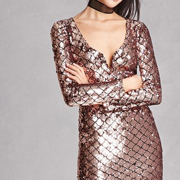 Sequined V-Neck Bodycon Dress
