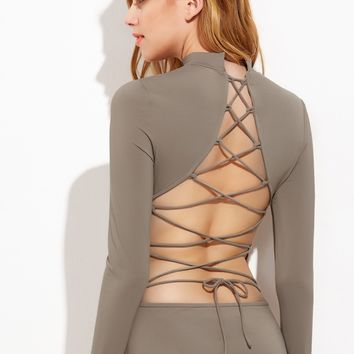 Lace Up Open Back Long Sleeve Bodysuit