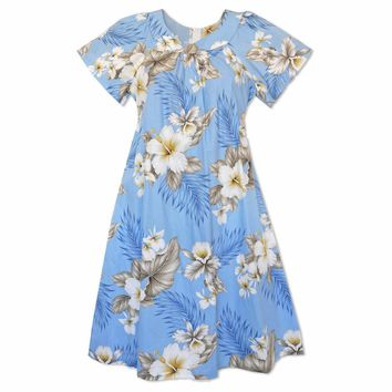 Hibiscus Joy Blue Cotton Hawaiian Muumuu Dress