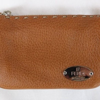 "~~~ THAT FAMOUS LEATHER! ~~~ FENDI CARAMEL ""SELLERIA LEATHER"" WALLET/POUCH ~~~"