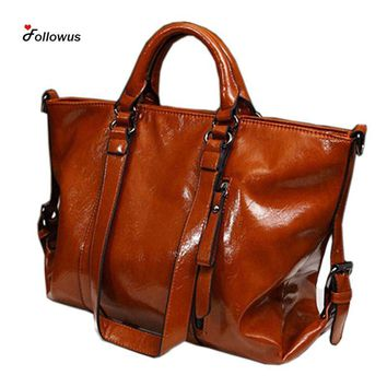 Shoulder Bags Ladies s vintage PU Leather Cowhide Large Tote Handbags
