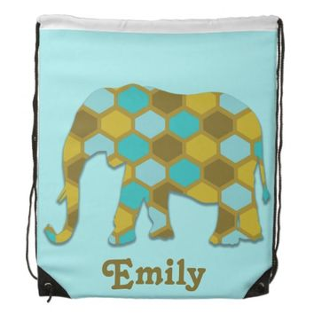 Personalized Olive Green Blue Gold Elephant Drawstring Backpacks