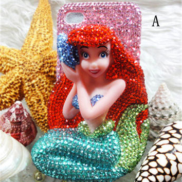 Handmade 3D Mermaid Princess  iphone 6 6 plus case iphone 4s iphone 5s 5c cover, samsung galaxy note 4 note 3 note 2 case s3 s4 s5 case