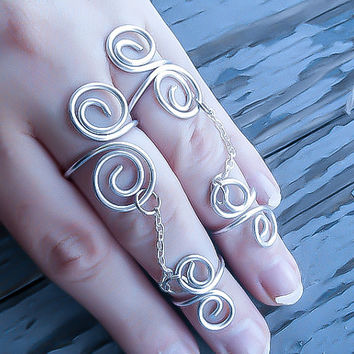 Midi ring Set - Silver Midi Rings - Above Knuckle ring - Chain Midi Ring - Silver Chain ring - Ring and midi Ring Set - Minimalist Ring