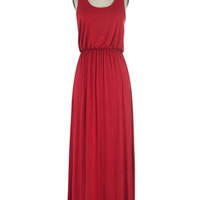 ModCloth Minimal Long Tank top (2 thick straps) Maxi Breezy Night Stroll Dress in Red