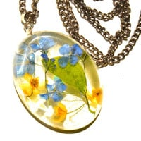 Real flower necklace Blue flowers Real dried flowers Resin pendant Preserved flowers pendant summer necklace Resin flower jewelry