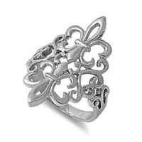 Sterling Silver 925 Noble Fleur De Lis Ring 925 Size 6