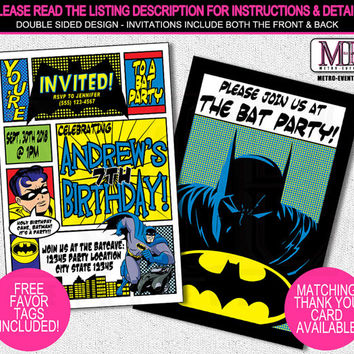 Batman Birthday Invitations, Batman Invitations,  Batman Invitation, Batman Party Invitations, Batman and Robin Party, Superhero Invitation