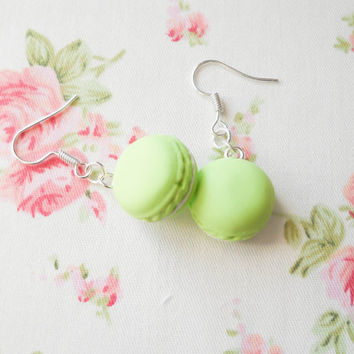 Macaroon Earrings, Macaron Earrings, Dessert Earrings, Food Earrings, Pastel Earrings, Pastel Kawaii, Sweet Lolita, Pastel Green