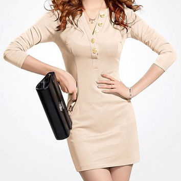 Apricot V-Neck Long Sleeve Mini Dress