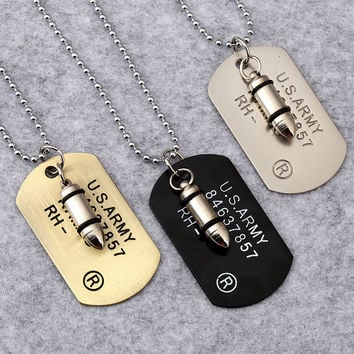 Army Bullet Dog Tag Pendant Necklace Stainless Steel Cool Military Card Jewelry
