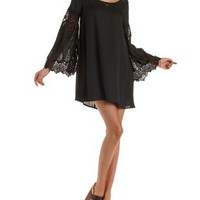Black Lace Bell Sleeve Shift Dress by Charlotte Russe