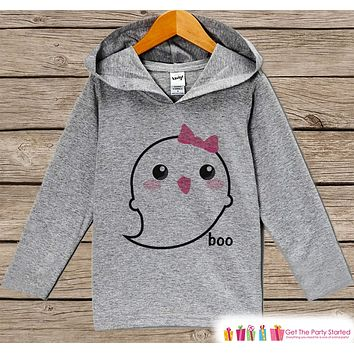 Girls Halloween Shirt - Ghost Halloween Hoodie - Cute Baby Girl Halloween Grey Hoodie - Happy Halloween Party Hoodie - Halloween Costume