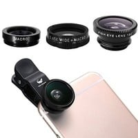 OldShark [Upgraded Version]Clip On 180 Degree Fish Eye Lens+0.65X Wide Angle+10X Macro Lens 3 in 1 Camera Lens for iPhone 6 / 6 Plus, iPhone 5 5S 4 4S Samsung Blackberry Black