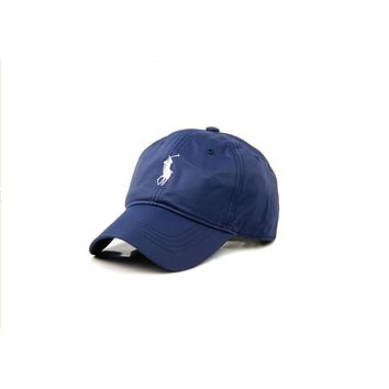 POLO baseball cap male models outdoor simple shade golf hat big embroidery hat Blue