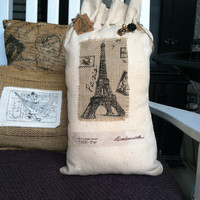 Paris flour sack pillow, rustic decor, flour sacks, pairs decor, paris burlap pullow