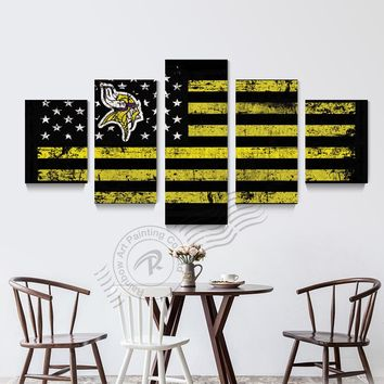5 Piece Minnesota Vikings Sport Flag Logo Poster Wall Painting Prints On Canvas Home Decor Wall Picture For Living Room Unframd