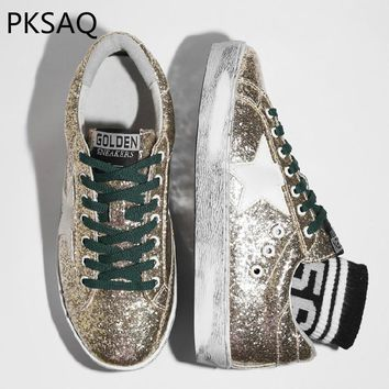 Autumn Winter New Women Golden Bling Sneakers Shoes Lady Stars Do Old Dirty Shoes Students Fashion Sequined Lace Up Shoes