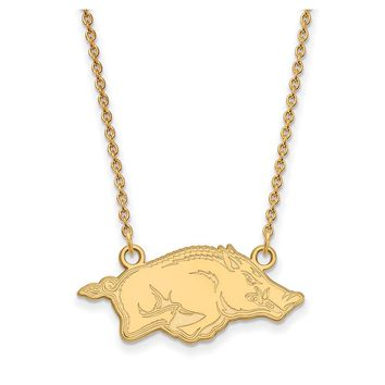 NCAA 14k Gold Plated Silver U of Arkansas Small Pendant Necklace