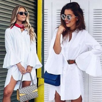 White Flare Sleeve Shirt Dress