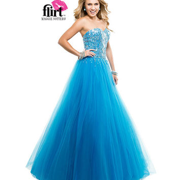 Flirt by Maggie Sottero 2014 Prom Dresses - Caribbean Blue Sparkle Tulle Ball Gown with Sequin Bodice