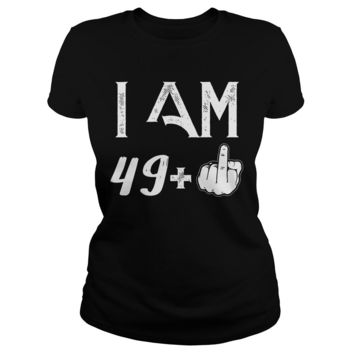 50 Years: 49 + middle finger shirt Premium Fitted Ladies Tee
