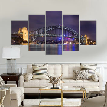 No Frame Canvas Painting Harbour Bridge Sydney Scenery Picture Night View Art Work for Living Room Mordern Home Decoration 5pcs