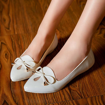 Bow Wedges Flats Women Shoes 5452