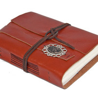 Light Brown Leather Journal Cameo Bookmark - Ready to ship