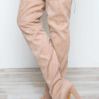 Showdown Thigh High Boots - Nude