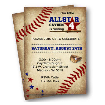 Vintage Baseball Birthday Invitation - rustic allstar sports birthday for boy or girl - red blue printed or printable  baseball party