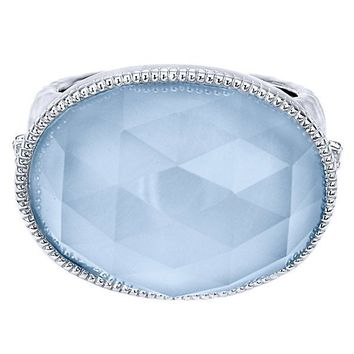 Sterling Silver Rock Crystal and Blue Jade Fashion Ring
