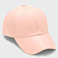 Faux Leather Pastel Weekend Baseball Hat - Light Pink