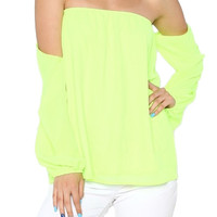 Wisteria Lane Off the Shoulder Blouse - Neon Lime