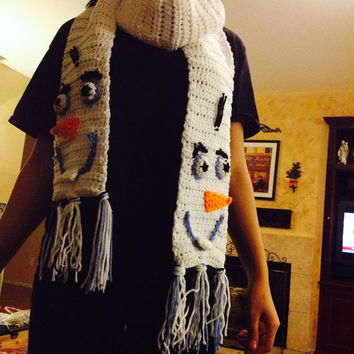 Olaf from Disney's Frozen Animated Movie Scarf Crochet Handmade