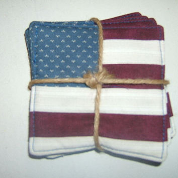 American Flag Coasters, Quilted Coasters, Red White Blue, Rustic Americana