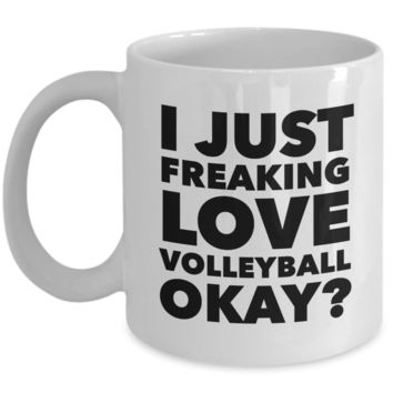 Volleyball Gifts I Just Freaking Love Volleyball Okay Funny Mug Ceramic Coffee Cup