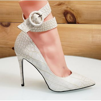 CR Armor Snake Textured Pumps Ankle Strap High Heel Shoes Yellow Off White