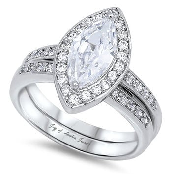 A Perfect 2CT Marquise Cut Halo Russian Lab Diamond Bridal Set Ring