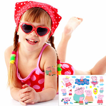 Pinky Pig Forever Child Love Temporary Body Art Toys Flash Tattoo Sticker 17*10cm Birthday Xmas Baby Shower Party Gift