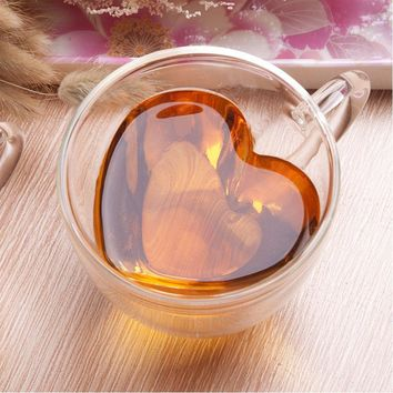 150ml 240ml double wall coffee mugs transparent heart shaped milk tea cups with handle Romantic gifts
