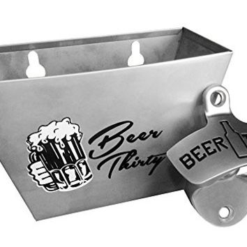 Barware Gear: Bundle - 2 Items : Wall Mounted Beer Thirty Bottle Opener with Matching Stainless Steel Cap Catcher. Both are modern and durable with the classic design.