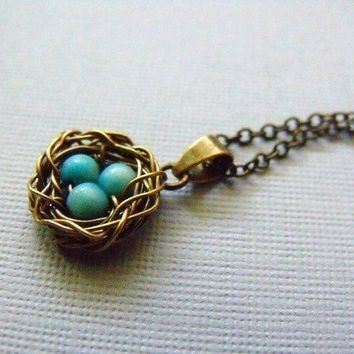 Wire Wrapped Bird Nest Necklace by pinkingedgedesigns on Etsy