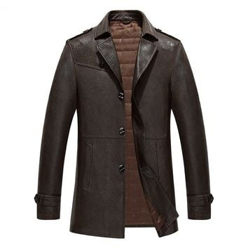 1528 Fashion Spring&Autumn young men leather trench coat collar male leather jacket