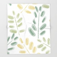 Plant Pattern Throw Blanket by sm0w