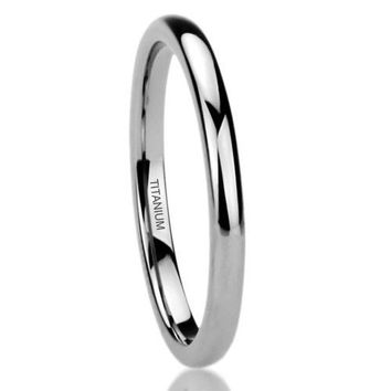 1.5mm Polished Comfort Fit Titanium Wedding Ring Band