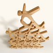Stacking game - Wooden balance and stacking toy - Balancing puzzle - Creative game - Desk game - Acrobats